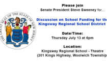 Senate President Sweeney to Host Discussion on School Funding at Kingsway - 7/13 at 6pm
